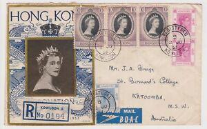 (K160-8)1953 Hong Kong FDC QEII 3Coronation + 3 KGVI stamps Reg no.0914 to Au(H) | eBay