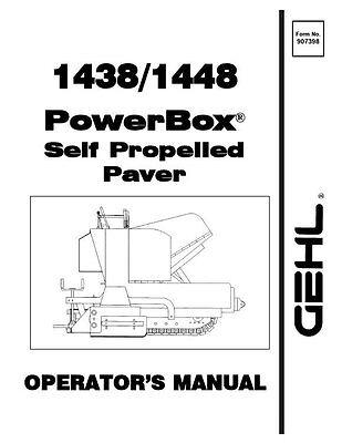 GEHL 1438 1448 Powerbox Paver Operators Owners Manual