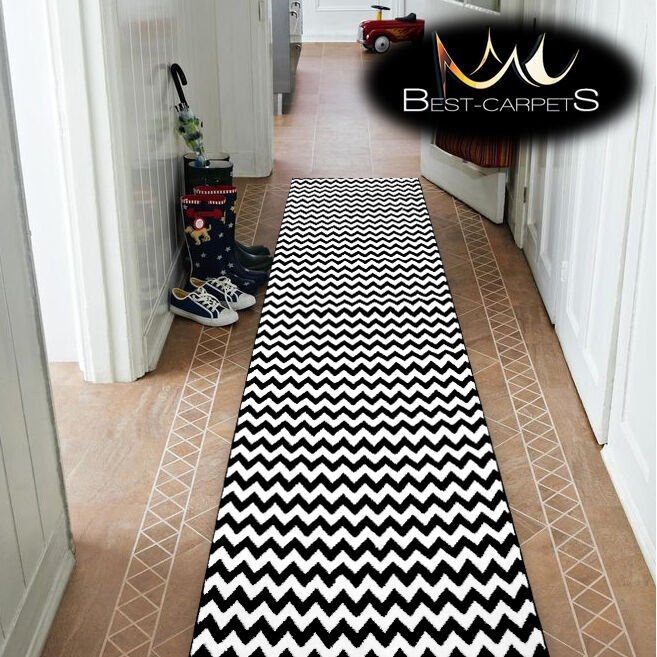 Modern Thick Hall Runner Sketch Zig Zag Black Width 80 120Cm Extra | Zig Zag Carpet On Stairs | American Style | Asymmetric Stair | Before And After | Navy Pattern | Grey