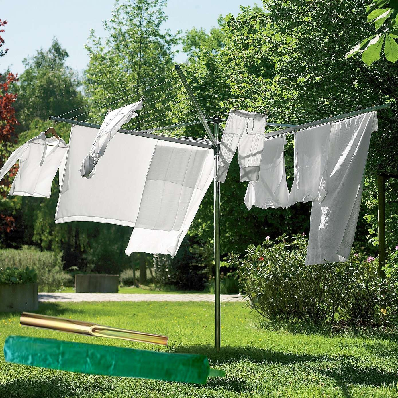 NEW 4 ARM ROTARY GARDEN WASHING LINE CLOTHES AIRER DRYER