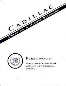 1995 Cadillac Fleetwood Shop Service Repair Manual Engine