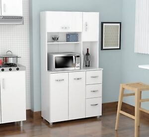 kitchen microwave cart best mat white cabinet cupboard storage hutch pantry image is loading