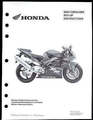 2003 HONDA CBR954RR MOTORCYCLE SET UP INSTRUCTION MANUAL