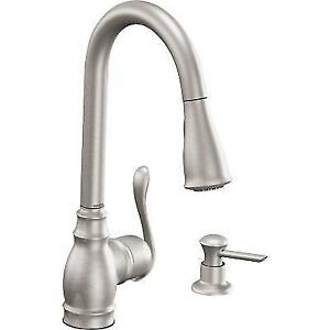 kitchen faucets stainless steel wusthof knives moen ca87003srs anabelle single handle faucet