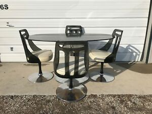 table with swivel chairs beach and chair set dining tulip lucite black mid century modern mcm image is loading