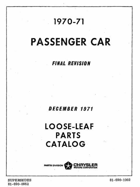 OEM Repair Maintenance Parts Book Mopar Chrysler/Dodge