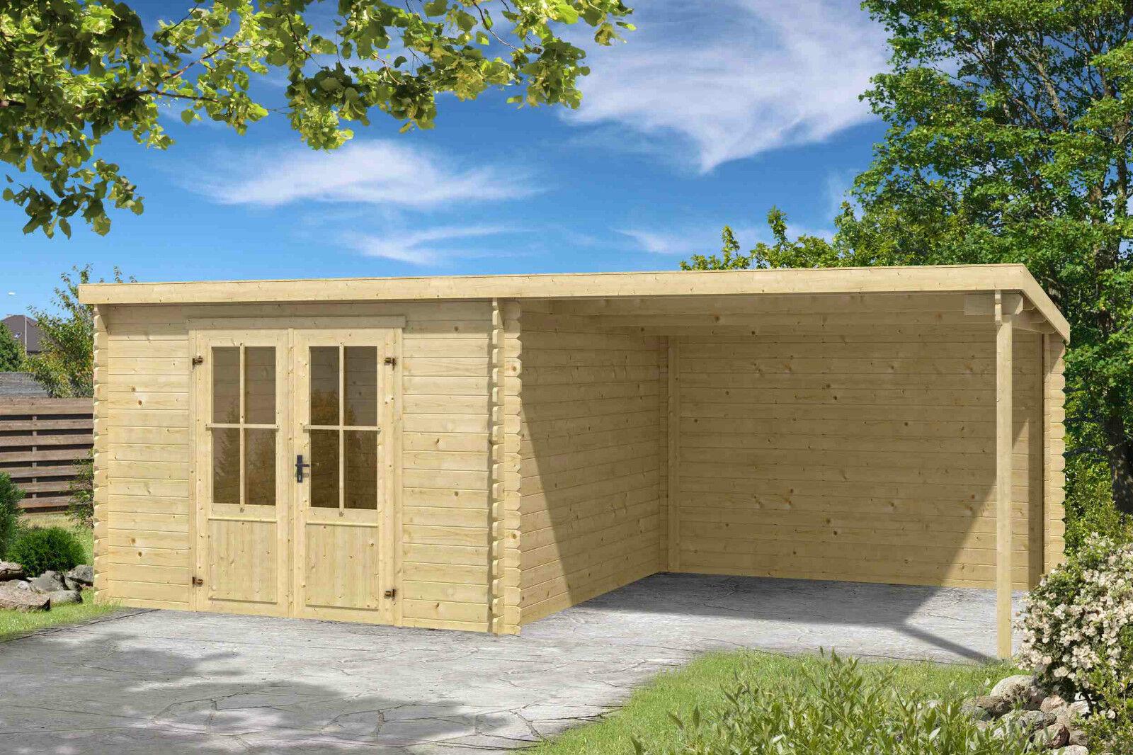 28 Mm Gartenhaus Mit Anbau Gerätehaus Blockhaus Holzhaus Holz