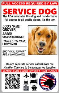 Service Dog Custom HIGH DEF Holographic ID Card Emotional ...