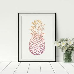 Pineapple Outline Pink Rose Gold Colour Fashion Stylish Prints Bedroom Artwork eBay