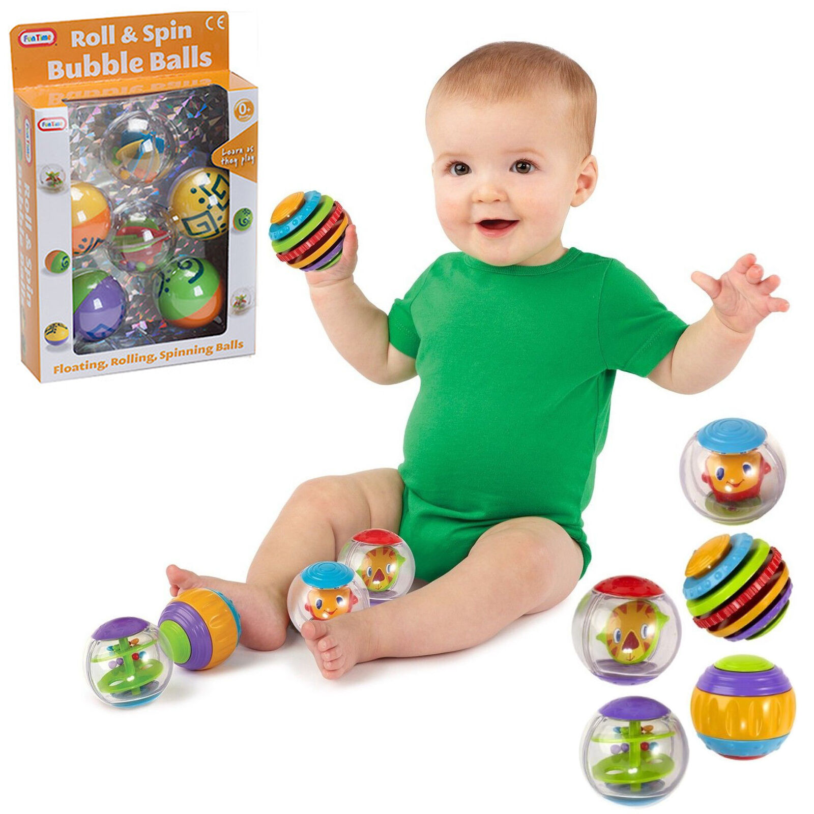 5pc Roll Spin Floating Bubble Balls Baby Toddler Activity Bath Toy New Boxed Fun