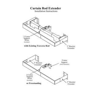 details about valance curtain rod extender kit 1 pair brackets with 2 wire center supports