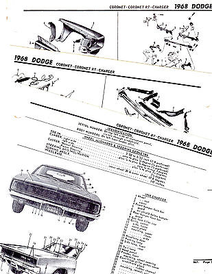 1967 DODGE CHARGER CORONET RT CORONET 500 BODY PART LIST