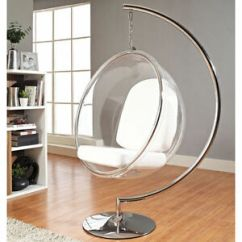 Bubble Chair On Stand Finn Juhl Eero Aarnio Standing Hanging W White Or Silver Image Is Loading