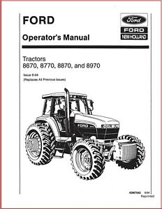 Ford 8670 8770 8870 8970 Tractor Operator Maintenance