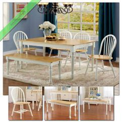 Oak And White Dining Chairs Hanging Chair Rail 6 Pc Set Farmhouse Wood Table Bench Country Room Image Is Loading
