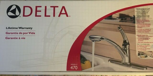 delta 470 pull out kitchen faucet 1 handle single hole chrome