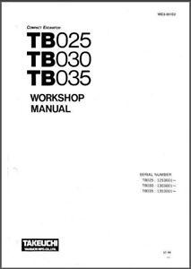 Takeuchi TB025 TB030 TB035 Compact Excavator Service