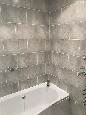grey brick grout line tile effect bathroom wall panels pvc shower wall cladding ebay