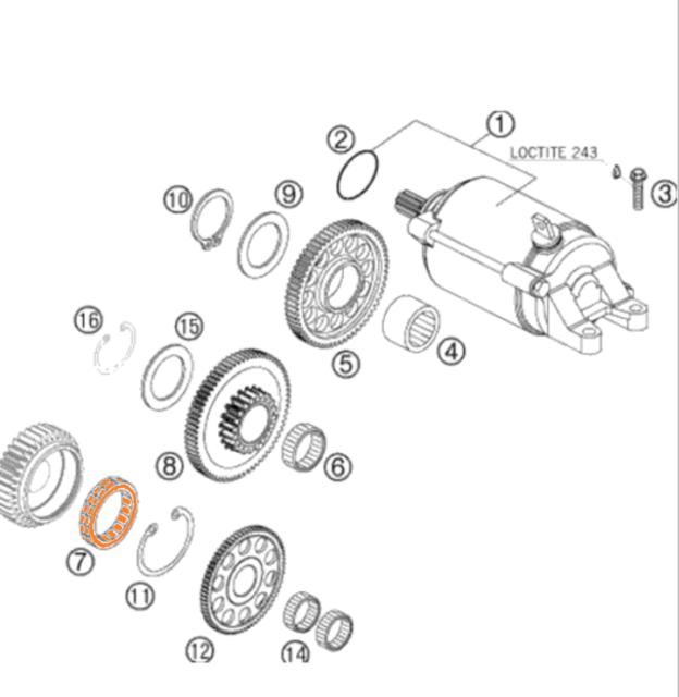 KTM 250 07-16 EGS EXC EXE SX XC MXC Starter Clutch ONE WAY