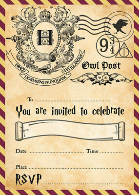 harry potter party invitations plus free envelopes ebay