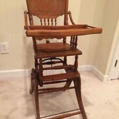 Antique Wooden High Chair Tall Computer Wood Rocker Ebay Image Is Loading