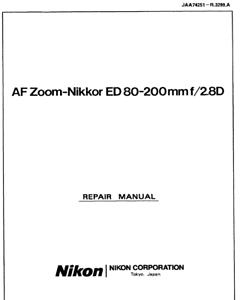 Nikon AF Nikkor 80-200mm f 2.8 D ED Service Repair Manual