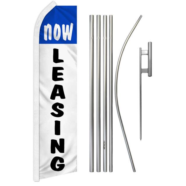 Now Leasing Swooper Flutter Feather Advertising Flag Kit Real Estate Bl/Wt | eBay
