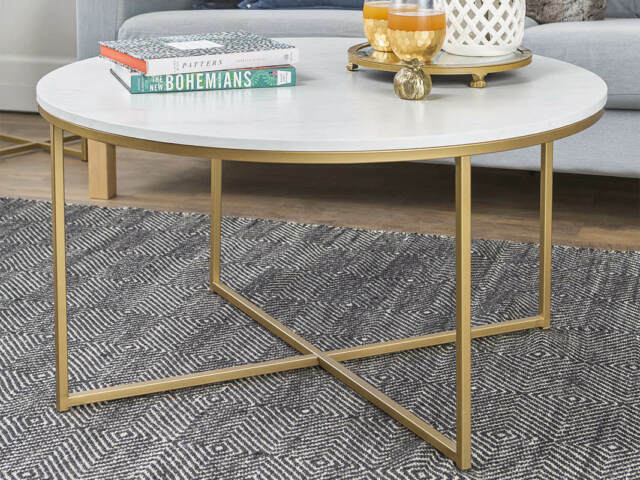 36 in faux marble gold coffee table with x base by walker edison furniture comp