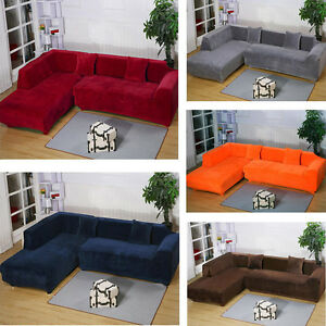l shaped sectional sofa slipcovers transitional style table 2seats 3seats plush stretch sure fit l-shaped / ...