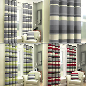 red and cream curtains for living room modern ceiling design 2016 striped ring top fully lined pair eyelet black image is loading