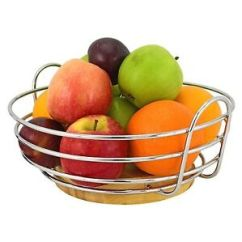Kitchen Fruit Basket Island For Small Round Chrome Wire Bowl Stand Apple Orange With Image Is Loading