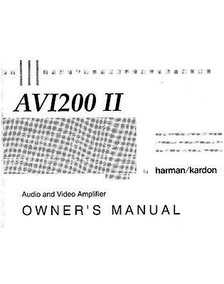 Harman Kardon AVI200II Amplifier Owners Instruction Manual