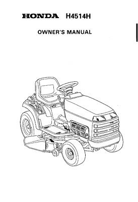 HONDA RIDE ON MOWER H4514H OWNERS MANUAL 89 EDITION