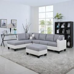 White Bonded Leather Sectional Sofa Set With Light C Shaped Designs Classic 2 Tone Large Fabric Image Is Loading