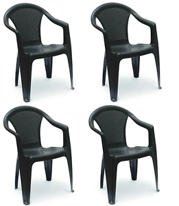 details about patio chairs 4 rattan garden chairs stackable plastic outdoor with arms black