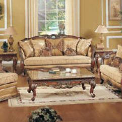 3pc Recliner Sofa Set R Us Exposed Wood Luxury Traditional & Loveseat Formal ...