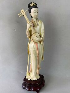 GOOD ANTIQUE CHINESE WOMAN WITH GUITAR POLYCHROMED SCULPTURE