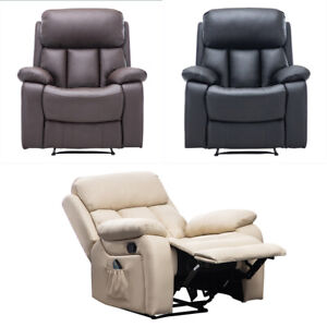 Bonded Leather Reclining Massage Tub Chair Heated Accent Armchair Bedroom Sofa Ebay