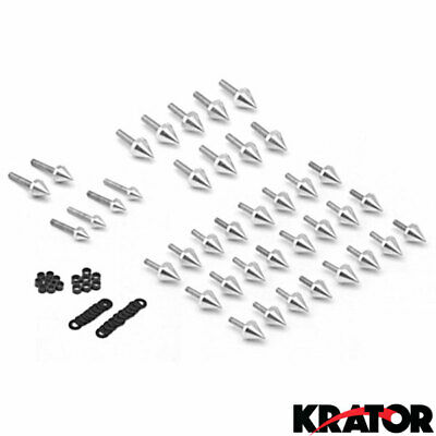 NEW Motorcycle Streetbike Spiked Silver Fairing Bolt Kits