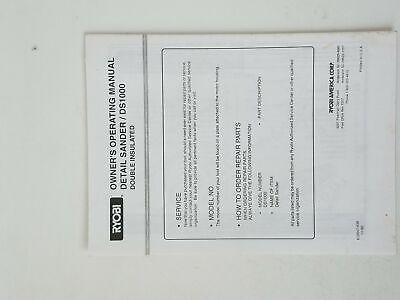 Ryobi Owners Operating Manual Detail Sander / DS1000