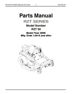 CUB CADET RZT 50 2006 1J015 & AFTER PARTS MANUAL REPRINTED
