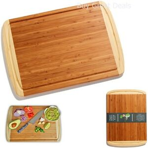 Best Organic Bamboo Cutting Board Antimicrobial Chopping Board W Drip Groove 633841266351 Ebay