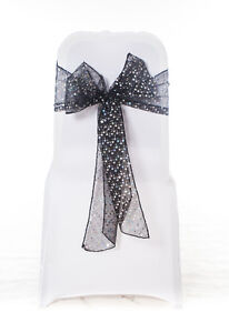 sequin chair covers uk diy metal 100 black organza cover party sash with sparkly sequins image is loading