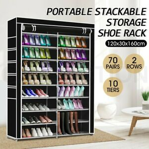 details about 70 pairs 10 tier metal shoe rack cabinet stackable storage organiser shelf stand