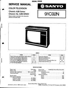 SANYO SERVICE MANUAL for a MODEL 91C92N COLOR TELEVISION