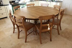 large round oak dining table 8 chairs la z boy chair with fridge 10 seater chunky stain top image is loading