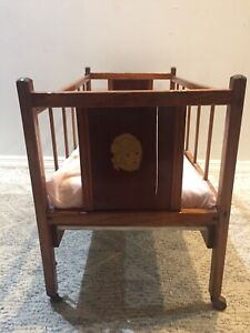 details about vintage wooden baby doll crib
