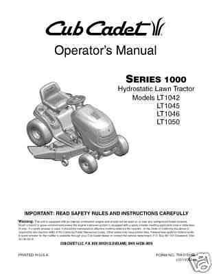 Cub Cadet LT1042/LT1045/LT1046 Lawn Tractor Operator's