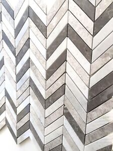 details about carrara gray mix chevron marble mix mosaic wall and floor tile backsplash bath