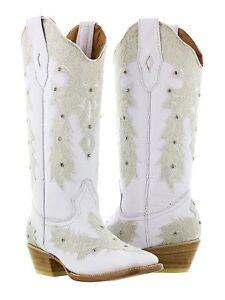 womens white leather western wear wedding cowboy boots rhinestones rodeo square  eBay
